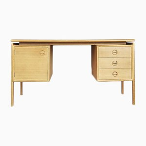 Scandinavian Oak Bilateral Vintage Desk, 1960s