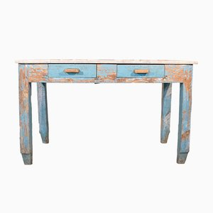 Antique Italian Butcher's Table with Marble Base
