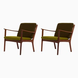 Easy Chairs by Ole Wanscher for Poul Jeppesens Møbelfabrik, 1950s, Set of 2
