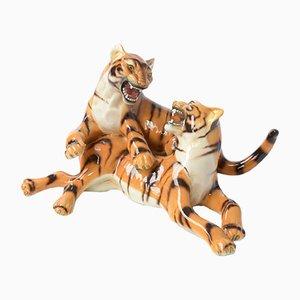 Sculpture Vintage de Tigres Jouant en Porcelaine par Ronzan, Italie