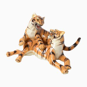 Vintage Italian Porcelain Sculpture of Playing Tigers by Ronzan