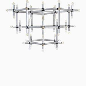 Lámpara de araña hexagonal grande de Robert Haussmann para Swiss Lamps International, años 60