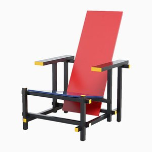 Vintage Stuhl in Rot & Blau von Gerrit Rietveld für Cassina