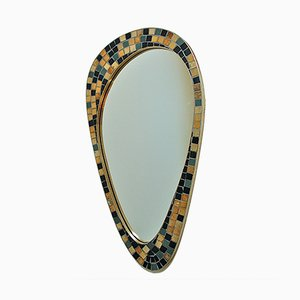 Asymmetrical Wall Mirror in Black and Gold Mosaic, 1950s