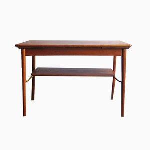 Mesa de centro extensible danesa vintage de roble y latón