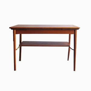 Vintage Danish Oak and Brass Extendable Coffee Table