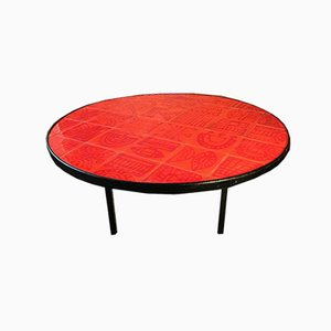 Tavolino da caffè in ceramica smaltato di Roger Capron, anni '70
