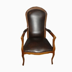 Highback Brown Skai Chippendale Style Armchair, 1960s