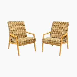 Checked Armchairs from TON, 1970s, Set of 2