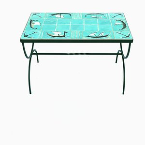 Mid-Century Coffee Table with Handmade Tiles