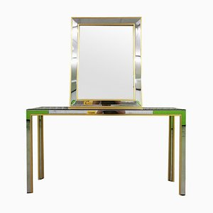 Brass and Chrome Console Table & Hall Mirror by Renato Zevi, 1970s