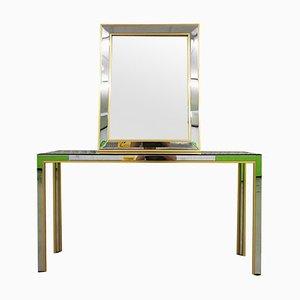 Konsolentisch aus Messing & Chrom mit Spiegel von Renato Zevi, 1970er