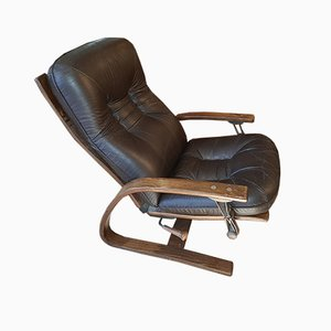 Danish Reclining Leather Lounge Chair by Ingmar Relling for Westnofa, 1960s