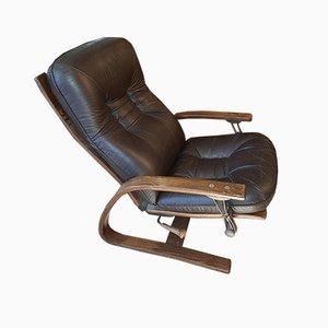 Poltrona reclinabile in pelle di Ingmar Relling per Westnofa, Danimarca, anni '60