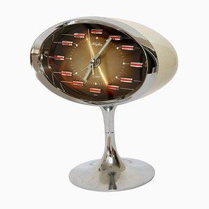 Orologio vintage in metallo cromato e plastica di Rhythm, Giappone, anni '70