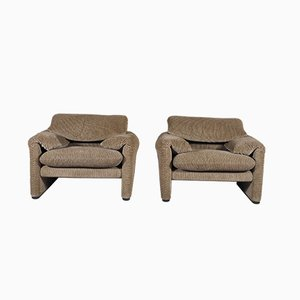 Maralunga Lounge Chairs by Vico Magistretti for Cassina, 1973, Set of 2