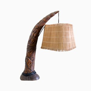 Carved Wood Lamp with Straw Shade, 1930s