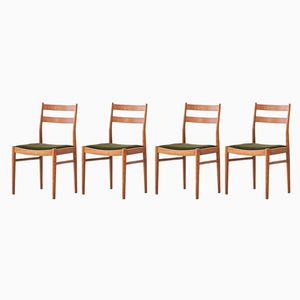 Vintage Swedish Teak and Green Moss Velvet Dining Chairs, Set of 4
