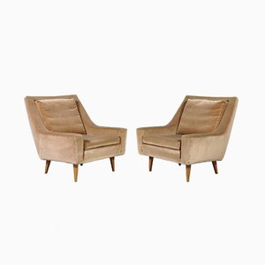Danish Velvet Lounge Chairs, 1960s, Set of 2
