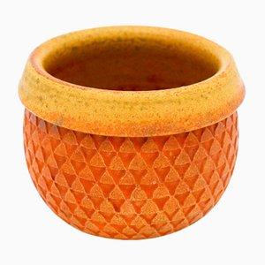 Scodella Mid-Century in ceramica arancione di Stig Lindberg per Gustavsberg, anni '60