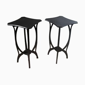 Art Nouveau German Oak Side Tables, Set of 2