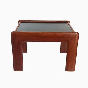 Mid-Century Teak & Black Formica Side Table, 1960s