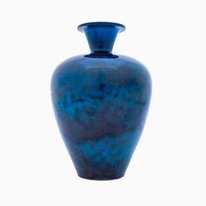 Vaso Mid-Century in ceramica blu di Berndt Friberg per Gustavsberg, 1942