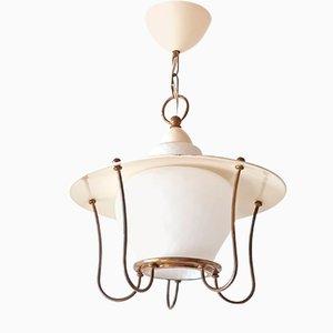 Französische Mid-Century Deckenlampe aus Messing & Glas, 1950er