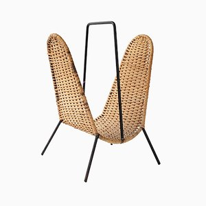 Mid-Century Danish Steel & Rattan Magazine Rack by Laurids Lonborg, 1950s