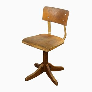 Vintage Industrial German 325 Beech Swivel Chair from Ama