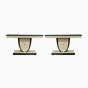 Art Deco Italian Brass and Parchment Console Tables, 1940s, Set of 2