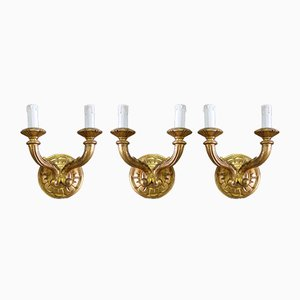 Mid-Century Italian Acacia Sconces, 1950s, Set of 3