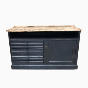Vintage Industrial Wood Cabinet, 1920s