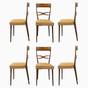 Italian Beech Dining Chairs by Melchiorre Bega, 1950s, Set of 6