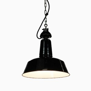 Vintage Industrial German Enamel and Steel Ceiling Lamp