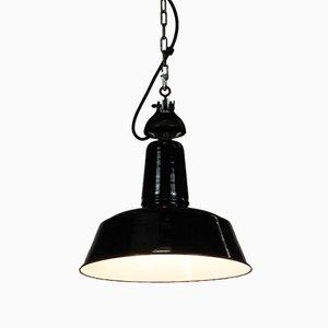 Vintage Industrial German Enamel and Steel Ceiling Lamp