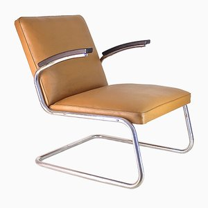 Bauhaus Chromed Tubular Steel Cantilever Armchair, 1930s