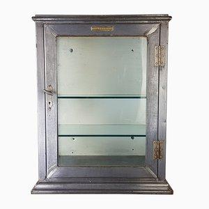 Armadietto Mid-Century industriale in acciaio e vetro, anni '50
