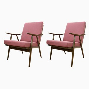 Czech Pink Armchairs from TON, 1960s, Set of 2