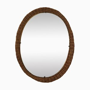 Mid-Century Italian Wicker Wall Mirror, 1950s