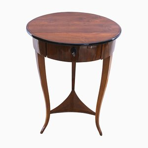 Round Biedermeier Side Table with Drawer, 1825