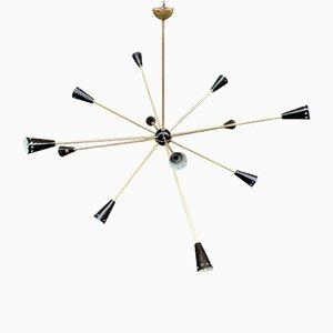 Italienischer Mid-Century Sputnik Kronleuchter aus Messing von Stilnovo, 1950er