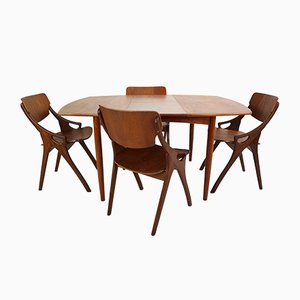 Danish No. 71 Teak Dining Set by Arne Hovmand-Olsen for Mogens Kold, 1960s