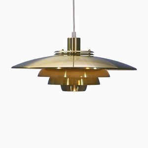 Large Vintage Danish Aluminum and Brass Ceiling Lamp from Jeka, 1980s