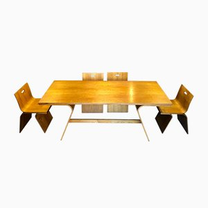 Italian Ash and Gold Plating Dining Table & Chairs Set by Gigi Sabadin for Stilwood, 1972