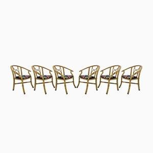 Italienische Vintage Esszimmerstühle mit Gestell aus Bambus, 1970er, 6er Set