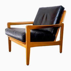 Mid-Century Cherry and Leather Lounge Chair, 1960s
