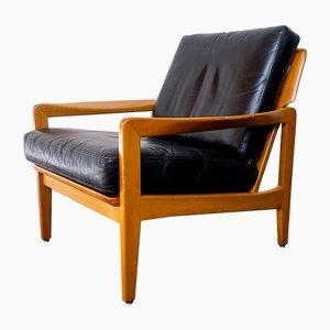Mid-Century Sessel aus Kirschholz & Leder, 1960er