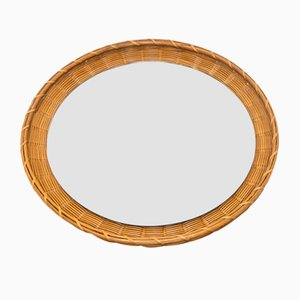 Round Mid-Century German Wicker Mirror, 1950s
