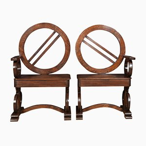 Antique Oak Hall Chairs, Set of 2